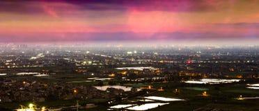 Вид на озеро вечера Стоковая Фотография