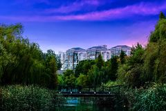 Вид на озеро вечера Стоковые Фото
