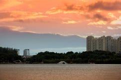 Вид на озеро вечера Стоковое Фото