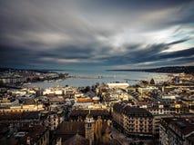 Вид на озеро Женева от собора St Pierre стоковое фото rf
