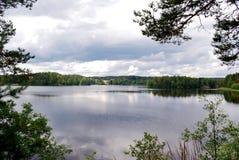 Вид на озеро обрамленный с деревьями Стоковые Фотографии RF