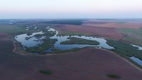 Вид на озеро от трутня, вид с воздуха сток-видео