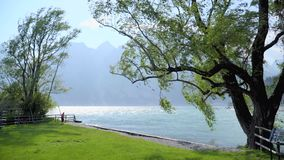 Вид на озеро Garda сток-видео