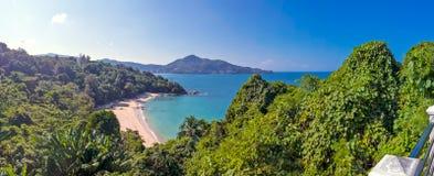 Вид на океан панорамы и частный пляж Стоковые Изображения RF