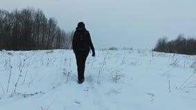 Вид сзади замедленного движения молодой женщины идя на снежности съемка steadicam сток-видео