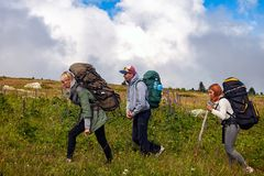 Вид сзади образа жизни перемещения и концепции выживания стоковое фото rf