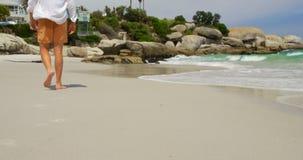 Вид сзади человека идя босоногий на пляже на солнечный день 4k видеоматериал