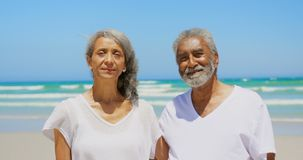 Вид спереди активных старших Афро-американских пар с оружиями вокруг стоять на пляже 4k сток-видео