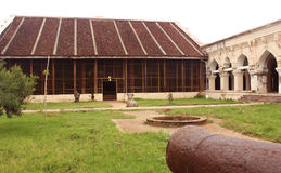 Вид спереди залы залы министерства dharbar дворца maratha thanjavur с посетителями Стоковое фото RF
