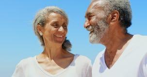 Вид спереди счастливых активных старших Афро-американских пар стоя на пляже в солнечности 4k видеоматериал