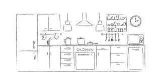 Вид спереди чертежа руки эскизов кухни внутреннее Стоковая Фотография RF
