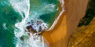 Вид с воздуха 12 апостолов - порт Campbell, Австралия Стоковое фото RF