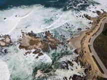 Вид с воздуха береговой линии Тихого океана и Монтерей Стоковое Фото