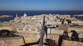Вид с воздуха Валлетты, Мальты видеоматериал