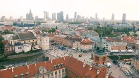 Вид с воздуха Варшавы акции видеоматериалы