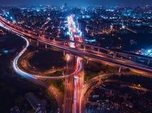 Вид с воздуха взаимообмена Zhongli - торгуйте изображением концепции, панорамной пользой вида с птичьего полета трутень стоковые фотографии rf
