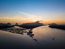 Вид с воздуха восхода солнца на запрете Сэм Chong Tai стоковое изображение rf