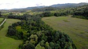 Вид с воздуха в поле земледелия на заходе солнца акции видеоматериалы