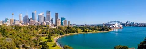 Вид с воздуха гавани и горизонта Сиднея Стоковая Фотография