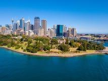 Вид с воздуха гавани Сиднея и ботанического сада Стоковые Фотографии RF