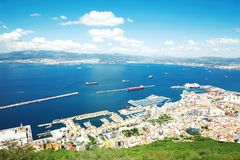 Вид с воздуха Гибралтара, Великобритании, города Стоковая Фотография RF
