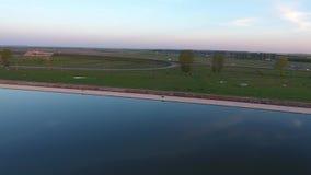 Вид с воздуха голубого озера видеоматериал