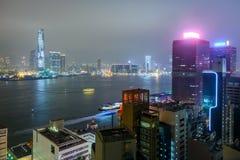 Вид с воздуха Гонконга, Китая ночи latvia города рождества сказ fairy захолустный скоро подобный к Стоковое Фото