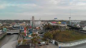 Вид с воздуха горизонта и Luna Park Myrtle Beach на заходе солнца, Sou Стоковая Фотография