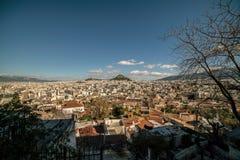 Вид с воздуха города Афин, от акрополя Парфенона, Греция Стоковые Фото
