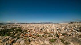 Вид с воздуха города Афин, от акрополя Парфенона, Греция Стоковое фото RF