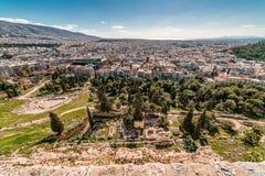 Вид с воздуха города Афин, от акрополя Парфенона, Греция Стоковые Изображения