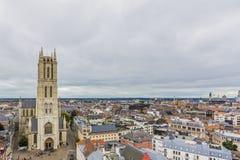 Вид с воздуха города Гента Бельгии стоковая фотография