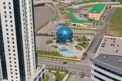 Вид с воздуха города Грозного Ресторан Globus стоковое фото
