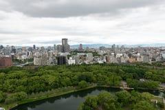 Вид с воздуха города Осака от замка Осака Стоковая Фотография RF
