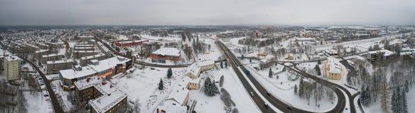 Вид с воздуха города покрытого с снегом панорама Стоковая Фотография RF