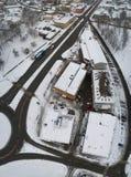 Вид с воздуха города покрытого с снегом Стоковое фото RF