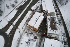 Вид с воздуха города покрытого с снегом Стоковые Изображения RF