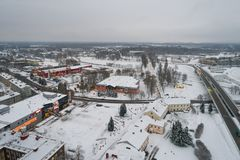 Вид с воздуха города покрытого с снегом Стоковая Фотография RF