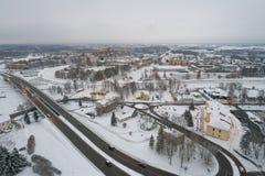 Вид с воздуха города покрытого с снегом Стоковое Фото
