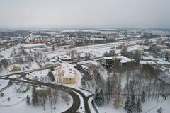 Вид с воздуха города покрытого с снегом Стоковая Фотография