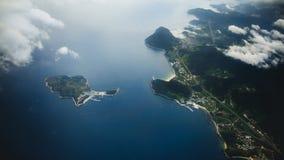 Вид с воздуха города Пусана сверху с облаками в Южной Корее стоковое фото rf