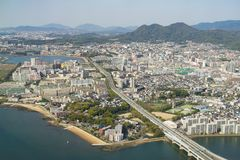 Вид с воздуха города Фукуоки Стоковое Фото