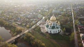 Вид с воздуха города Morshansk Собор троицы Река консервной банки акции видеоматериалы