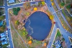 Вид с воздуха городка Глостера Нью-Джерси берега реки Делавера стоковые изображения