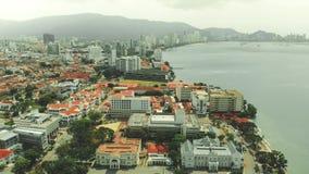 Вид с воздуха городка Джордж, Penang стоковые фотографии rf