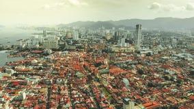 Вид с воздуха городка Джордж, Penang стоковое фото