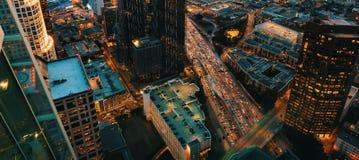 Вид с воздуха городского ЛА, CA на заходе солнца Стоковое фото RF
