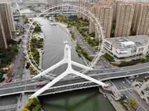 Вид с воздуха городского пейзажа колеса ferris Тяньцзиня Колесо ferris глаза Тяньцзиня стоковое фото