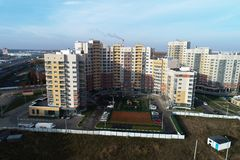 Вид с воздуха городской недвижимости в районе Kutuzovo стоковые фотографии rf