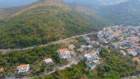 Вид с воздуха гор, Черногория, Budva Ривьера видеоматериал